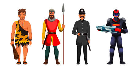 Guard and surveillance development in cartoon scene. Prehistorical, medieval, vulgar century or modern, future warrior man armed character with weapon bundle in time. Vector illustration  イラスト・ベクター素材