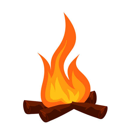 Night burning bonfire with wood isolate on white. Fire or campfire icon. Fireplace for warming, cooking in forest camp. Touristic symbol. Hiking and trekking adventure design. Vector illustration
