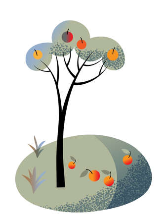 Apple tree with fruit on branch and ground grass in green garden. Great invention and discover historical place. Gravity law. Harvest. Natural background. Cutout design. Vector illustration