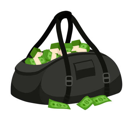 Open black leather bag with green stolen banknote cash isolated on white background. Bank theft. Financial crime. Money laundering. Finance fraud. Robbery. Million dollar fortune. Vector Illustration