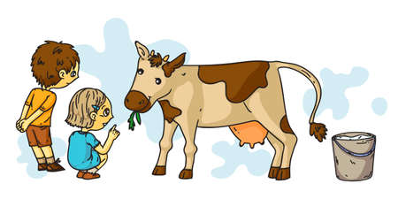 Little boy and girl feeding cow. Friend enjoy spending time with farm animal at countryside. Cattle care at livestock. Children character and ruminant creature. Summer vacation and childhood Vettoriali