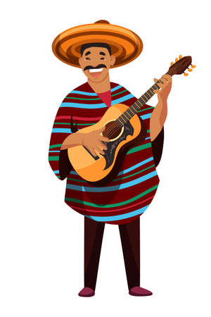 Latin man character wearing traditional clothes and hat playing guitar. Mature friendly smiling mustached guy musician guitarist standing isolated on white background. Vector illustration