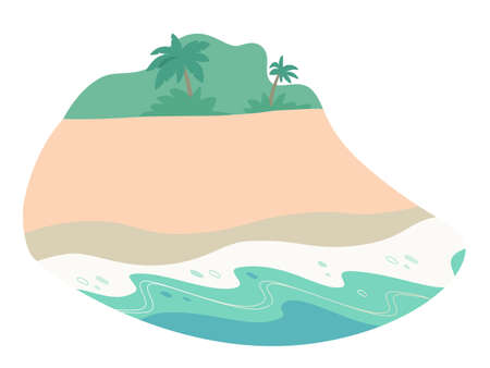 Tropical island flat vector color illustration. Seascape. Sky, coast, palm trees and sailing boat in sea. Sea, ocean scene cartoon background. Paradise resort. Summer backdrop for text and design