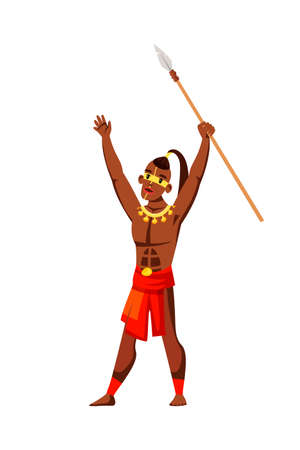 Tribal native man raising spear on white. Warlike male character shouting loudly. African inhabitant ready to attack, praying to pagan god. Traditional clothes, ethnic makeup.