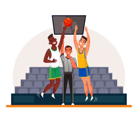 Sports judge referee blowing whistle standing between two basketball players. Caucasian and afro-american sportsmen on line of scrimmage. Competition start. Match time beginning. Vector illustration