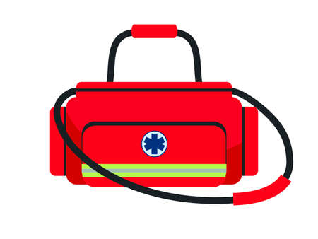 Doctor medical red bag isolated on white background. Suitcase with equipment and medication for treatment. Therapist briefcase with pharmaceutical. Medic practitioner toolbox. Emergency service Vektorové ilustrace