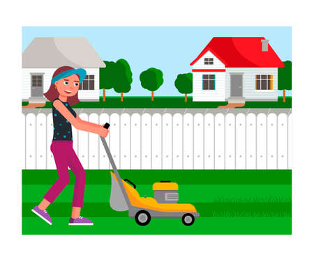 Cartoon friendly smiling young woman mowing grass with lawn mower on yard. Gardening and landscape design. Female gardener working with garden equipment. Vector flat cutout illustration