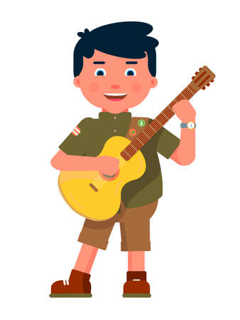 Happy boy scout playing guitar isolated on white background. Cheerful young child tourist singing song. Scouting, camping, hiking. Adventure and rest. Childhood and exploration. Vector illustration Vettoriali
