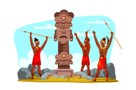 Tribal man warrior characters wearing traditional clothes holding spear weapon in hands praying to pagan god. Religious idol statue. Natural scene. Aboriginal religion.