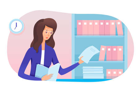 Young woman secretary and paperwork in office. Girl assistant working with folders and archives, taking document from shelf rack. Businesswoman everyday schedule work routine. Vector illustration Vettoriali