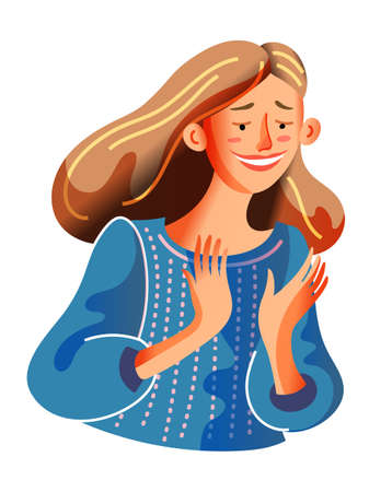 Happy smiling young woman clapping hands isolated on white background. Cheerful mother rejoicing enjoying success. Cropped portrait. Positive emotion, good mood. Happiness. Vector illustration