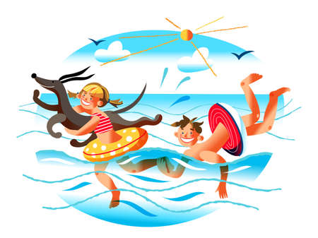 Boy brother, girl sister and dog swimming in inflatable rubber ring. Sea time, summer recreation and water fun. Beach activity. Playful and joyful time. Best friends pastime. Vector illustration