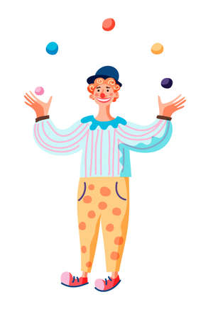 character cartoon comedian juggling balls. Funny clown stands and performs on circus stage or street festival. Holiday, entertainment, circus artist, costume party, children's animator concept