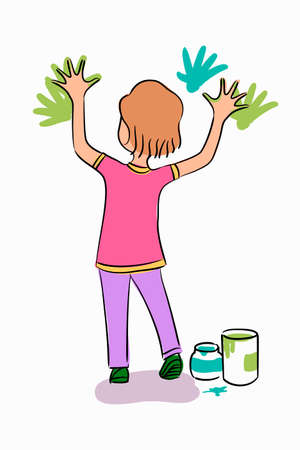 Vector character little girl stands and playing with colorful finger paints, handprints on wall. Standing pose of back view kid drawing. Childish activity, creative, imagination and childhood concept Illustration