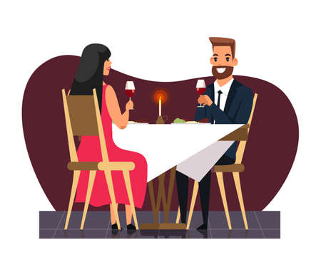 Happy smiling businessman with wife in elegant dress sitting at table and drinking wine. Romantic candlelight dinner at restaurant. Romance and dating. Anniversary celebration. Vector illustration
