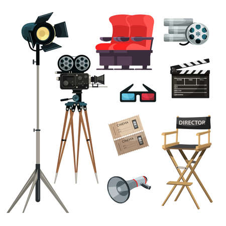 Cinematography items vector illustrations set. Movie directing, filmmaking. Cinema ticket, 3D glasses. Film strip, tape, director chair cliparts. Classic movie clapper, loudspeaker, camera Ilustración de vector