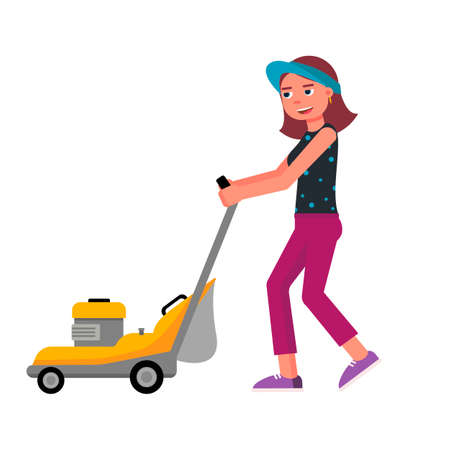 Cartoon friendly smiling young woman with lawn mower isolated on white. Gardening and landscape design. Female gardener working with garden equipment. Vector flat cutout illustration Stock Illustratie