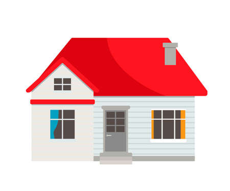 Small suburban, country light residential house with red roof, stairs stepping to entrance door, window, chimney, isolated on white background. Countryside real estate exterior. Vector illustration