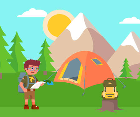 Boy scout backpacker wearing costume and eyeglasses holding paper map and looking for rout. Campsite with tent for overnight stay mountain forest valley landscape. Active rest. Vector illustration
