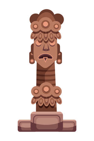 Tribe pagan god religious idol statue on white. Ancient native deity for ritual made from stone or wood. Magic indigenous aborigine totem. African tribal sculpture. Place for pray. Vector illustration