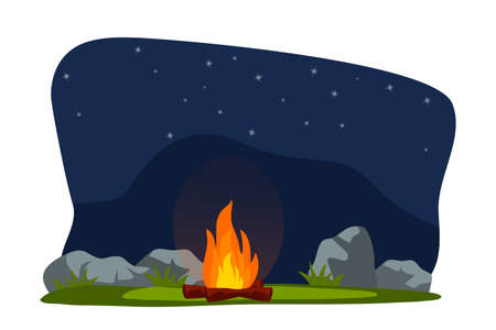 Bright sparkling burning bonfire with wood on field at night. Bright marching camping fire. Summer campfire. Tribal fireplace. Starry sky. Stone and green grass nature. Vector illustration