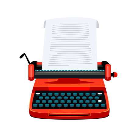 Retro manual typewriter and blank empty paper sheet isolated on white. Writer vintage accessory for creation. Machine for writing, typing story. Creative hobby or profession. Vector flat illustration