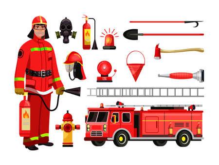 Fire department equipment, firefighter in red protective uniform, mask, helmet. Fire extinguisher, fire-truck, steel ladder, gas mask, water hydrant, alarm siren, bucket, helmet, pickaxe, shovel, ax