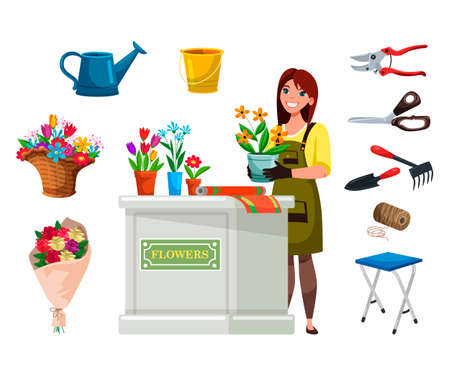 Woman florist in apron with flowers equipment set. Smiling girl in overalls gloves planting. Floral bouquets, plants composition in basket and pots. Watering can, bucket, scissors and working tools
