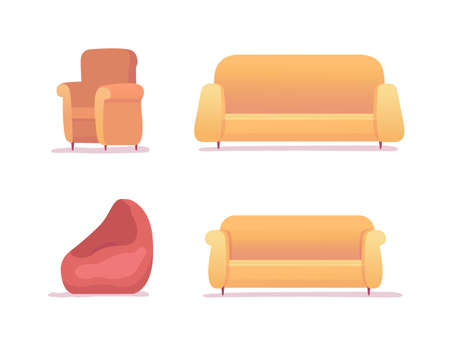 Furniture for rest and relax set isolated on white background. Sofa, couch, armchair, soft bag chair for lounge area design. Interior office, home room furnishing item. Vector illustration