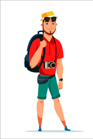 Young excited friendly smiling man tourist backpacker with rucksack baggage and camera standing isolated on white background. Hiker traveler character in trendy outfit. Vector illustration 向量圖像