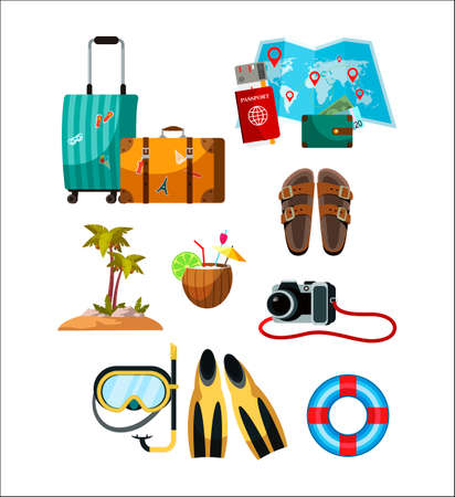Touristic accessory and attributes set. Suitcase, paper world map, passport, purse, palm tree on island, scuba diving equipment, camera, floating ring, slippers. Objects isolated on white background