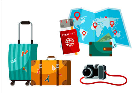 Touristic accessory and attributes set. Suitcase, paper world map, passport, purse, camera. Objects isolated on white background Ilustrace