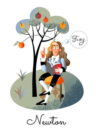 Isaac Newton character in vintage suit sitting on chair under apple tree holding book. Fruit falling on man head. Great english discoverer scientist. Gravity law. Physics, science. Vector illustration