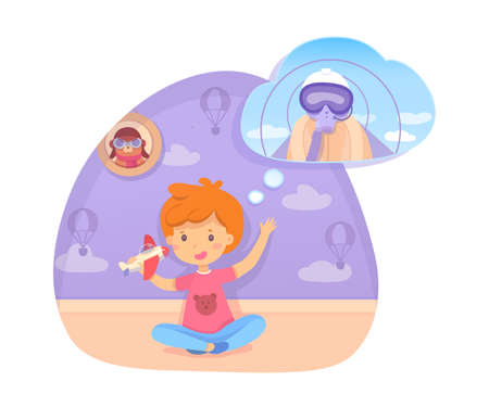 Boy playing with toy plane dreaming being pilot in future. Happy cute child sitting on floor in bedroom or playroom. Aviator in protective facial mask in dream bubble. Vector cutout illustration
