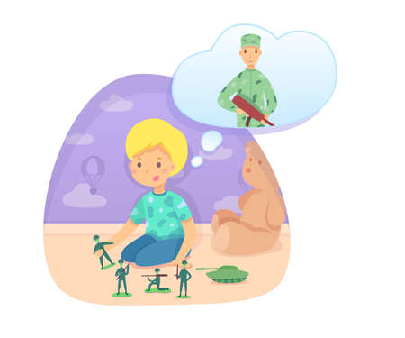 Little boy playing toy soldier and tank dreaming being warrior. War game. Preschooler child character sitting on floor in bedroom or playroom. Future profession fantasy. Vector illustration