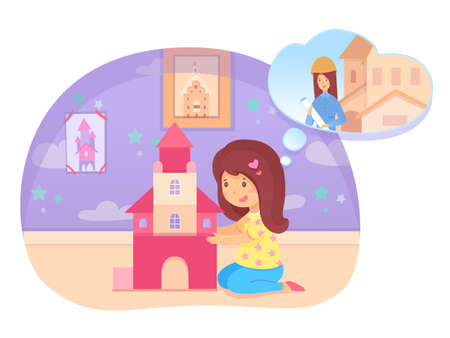Preschool girl building house on floor dreaming become builder. Cute child playing in playroom or bedroom. Dream about future profession. Aspiration being constructor. Vector illustration