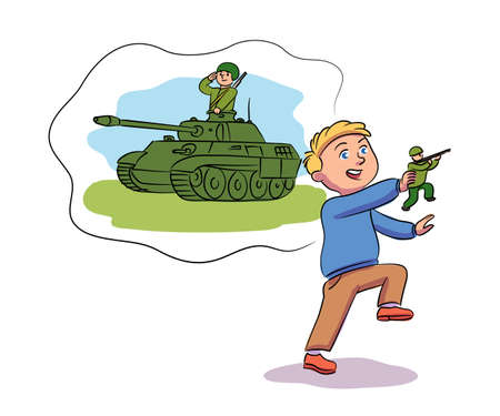 Vector character kid playing games and dreaming. Little boy playing toy soldier and imagines himself tankman. Profession for child, childish activities, creative, imagination and childhood concept