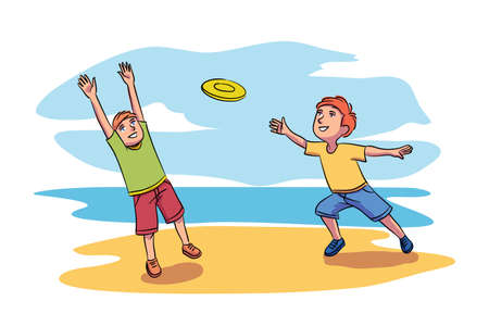 Vector characters illustration of kids playing toy. Smiling boy throws flying disc and his friend or brother jumping to catch it. Relaxing outdoors, childish activities, leisure and childhood concept