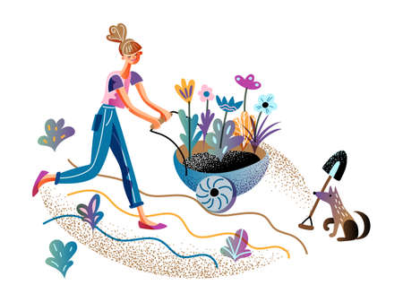 Young woman smiling happily and pushing trolley cart with flower sprout in ground for planting. Dog pet holding spade for owner help in garden. Gardening time and horticulture. Vector illustration