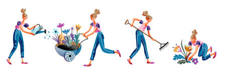 Young woman gardener engaged in gardening isolated scene set. Girl watering flower, cultivating and planting plant sprout, pushing trolley with seedling, raking dry grass. Vector illustration