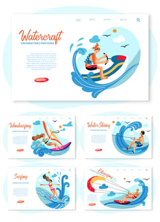 Extreme water sport tour promotion. Sportive active athlete people engaged in windsurfing, kitesurfing, surfing, water-skiing, watercraft. Training lesson. Landing page design set. Vector illustration