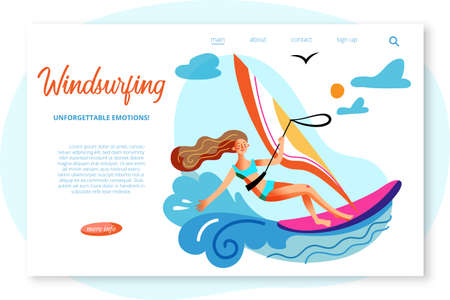 Vector character illustration of windsurfing woman in blue ocean waves. Young active girl sailing in sea. Banner template, landing page of sports club, outdoor activities, marine entertainment, travel