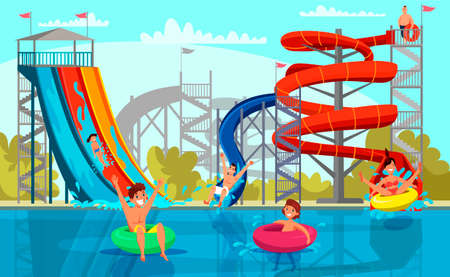 Amazing aqua park for adult and kid recreation. Cheerful family and children riding from slide pipe on tube tablet. Swimming pool fun. Active rest on water. Amusement and leisure. Vector illustration