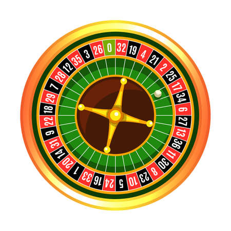 Wooden colorful rotating gambling roulette wheel with ball isolated on white background. Professional casino equipment. Place for bet. Try luck, tempt fortune, flip coin. Vector illustration