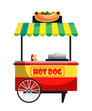 Vector flat illustration of mobile hot dog cart, street food market. Modern fast food snack bar isolated on white background. Design elements for catering business, food court, street cafe concept Vettoriali
