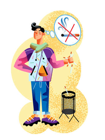 Vector character casual young man stops smoking and throws cigarettes into the trash. Choose healthy lifestyle, anti tobacco and no smoking life. Concept of self control, life change and good habits