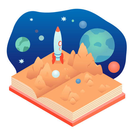 Popup book about planet isolated on white backdrop