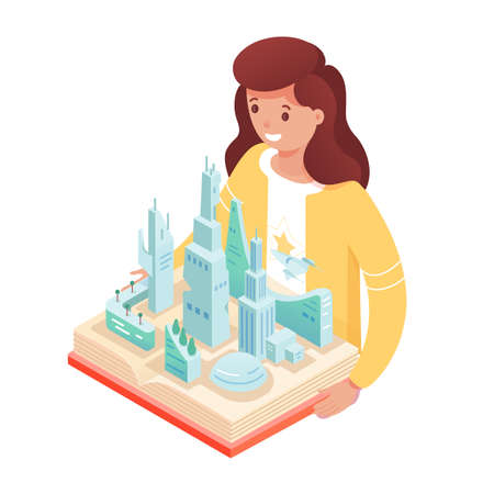 Girl with pop up book. Smiling cute kid reads story about modern smart city, skyscrapers. Educational textbook with three-dimensional pages develops imagination. Vector character illustration.