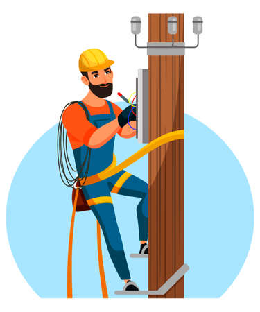 Electrician repair city electrical installation Vector Illustration