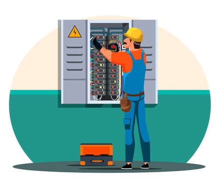 Electrician checking up wire in electrical panel Illustration